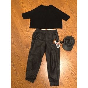 Tops - Black scoop neck top and leather cap